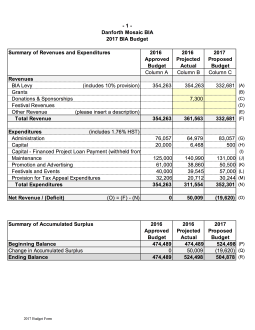 2017 Proposed BIA Budget